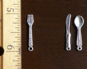 4 mini place settings - 1 inch spoon fork knife - perfect for a fairy tea party