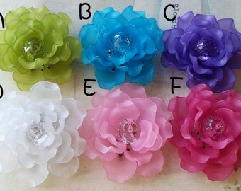 1 Piece of  46 mm Matte Frosted Translucent Resin Flowers of Assorted Colors (t.s)