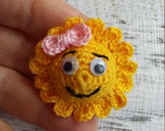 Crochet brooch sun , handmade sun , mini sun , crochet sun , brooch sun