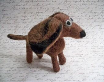 Brown Dachshund, Mini Doxie, Handmade Dog, FeltWithAHeart