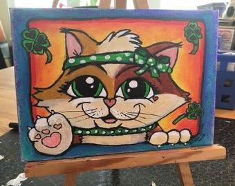 Original Painting, 5x7, Lucky Clover Cat, Cute Animal Art, Acrylic Painting, Home Decor, Adorable Art, Unique