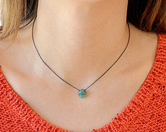 Genuine Raw Emerald Necklace Pendant, Natural Emerald Stone, May Birthstone, gift for women, wife, mom: 14K Rose Gold Filled Sterling Silver