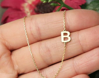 14k Solid Gold-Gold Sideways Initial Necklace-Personalized-Necklace -14k-Gift- Bridesmaids Gifts -  Letter Necklace Gold Jewelry