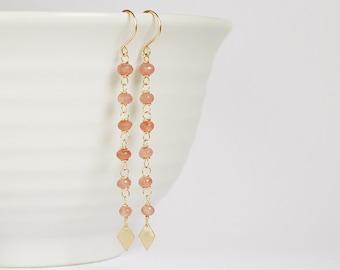 Pink RHODOCHROSITE 14K goldfilled handmade long earrings