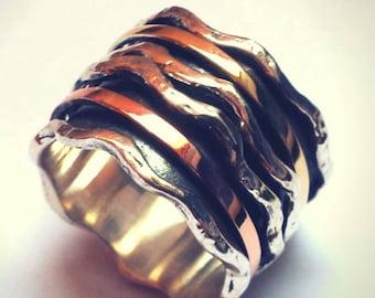Silver and gold Spinner Ring Sterling silver & gold 9K  Avant Garde Meditation ring