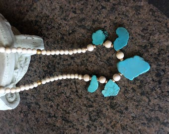 Turquoise slab agate necklace