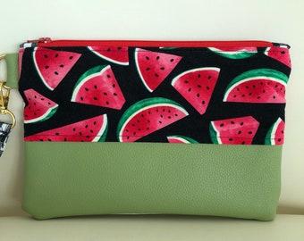 JeNoelle Watermelon Picnic Wristlet Clutch
