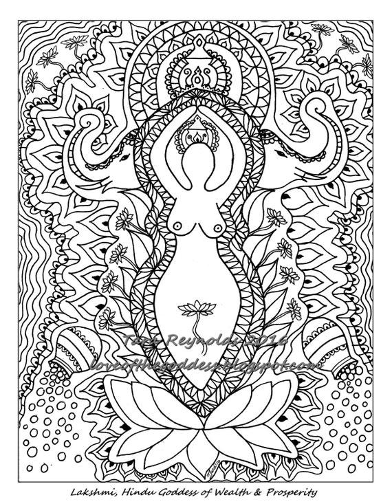 Printable mandala coloring page coloring book page pagan art for Lakshmi coloring pages