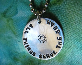 All Things Serve The Beam - Hand Stamped Hammered Necklace Keychain Dark Tower Roland Deschain Tribute
