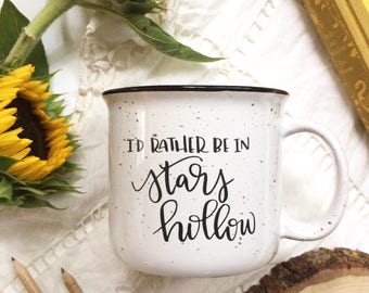 Stars Hollow Coffee Mug, 15 oz. Hand Lettered Gilmore Girl Ceramic Large Camp Mug
