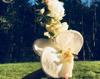White Orchid Fascinator