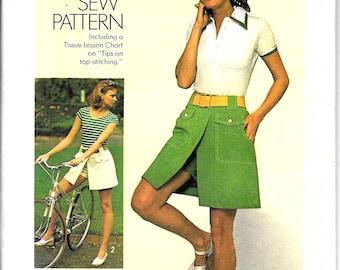"Shorts Skort Pattern Skirt Pantskirt Front Zipper Patch Pockets How To Sew 1970s Fashion Simplicity 6903 Size Small 8 24"" waist"