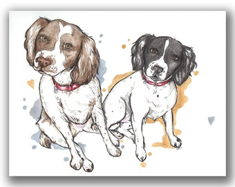 Custom Pet Animal Portrait Illustration (Made To Order)