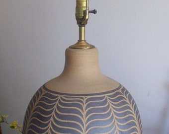 Circa 1970's Incised Ceramic Table Lamp Signed BROWN Mid Century Modern Art Pottery