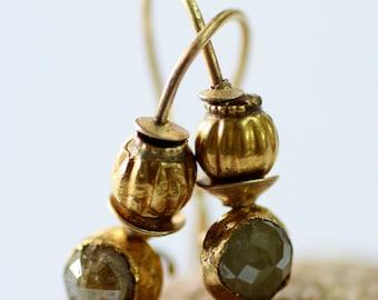 Green Diamond Earrings, Solid Gold Earrings, Women's Earrings, Green Stone Earrings, Gold Dangle Earrings, Statement Earrings, Gift for Her
