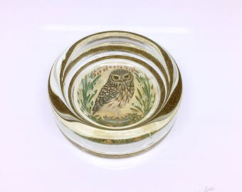 Vintage Owl Glass PaperWeight Village Green Country Crafts Made in England 1980