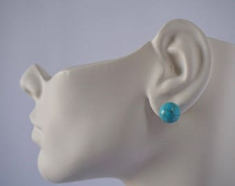 Small faux turquoise stud earrings