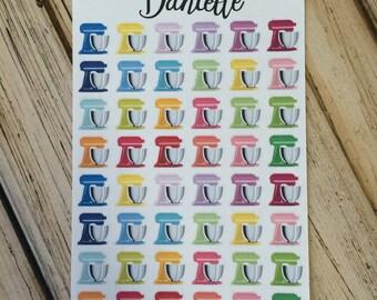 Kitchen Mixer Planner Stickers, Baking Planner Stickers, Kitchen Stickers, Functional Stickers, set of 48