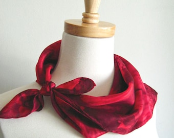 Hand Painted Square Silk Bandana Scarf in Deep Reds