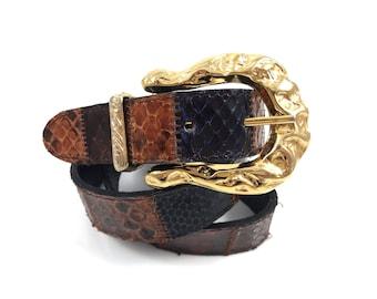 Vintage snakeskin patchwork belt with gold buckle
