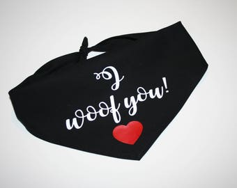 Dog BANDANA, Personalized Dog Bandana, Valentine's Day, Dog Scarf, Dog, Custom Name, Red, Black