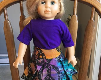 """T-shirt with skirt fit 18"""" dolls such as American girl"""