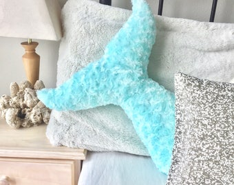 Mermaid Decor Pillow Tail Room Decor Bedroom Nursery Dorm Turquoise Under the Sea Pillows Kids Teens Adults Baby Shower