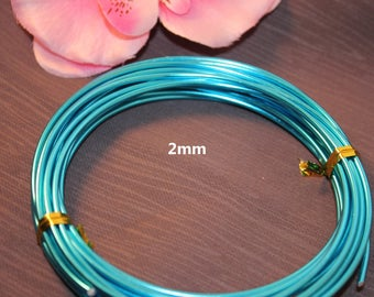 5 meters of 2mm - creating Jewelry Turquoise Blue color aluminum wire