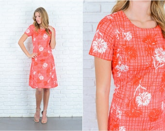 Vintage 70s Red Mod Dress White Floral print Striped short sleeve Medium Large 6699