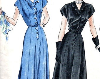 """Vintage 1950's VOGUE Design Pattern 6265 //  Lovely """"Easy to Make""""  One Piece Dress with Scalloped Revers // Factory Folded // Bust 36"""