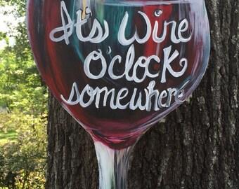 Wine o'clock somewhere door or wall  hanger