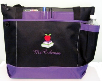 Free Shipping - Personalized Teacher Tote Bag - Apple Books - More Colors - monogrammed