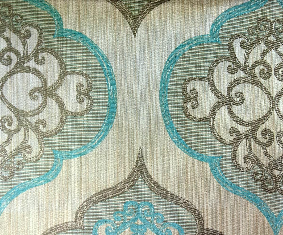 Geometric Aqua Damask Fabric By Yard Aqua Blue Curtain Fabric