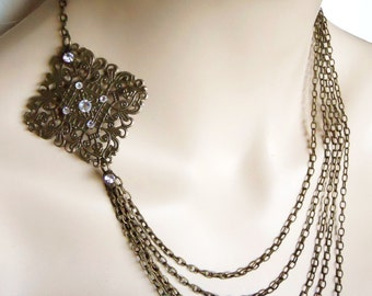 long multi strand chain necklace Arabian Nights Steampunk Adventurers Necklace Neo Victorian Inspired with Filigree accent and Crystals