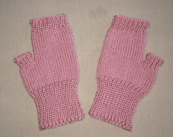 Hand knit Fingerless Gloves - Mauve