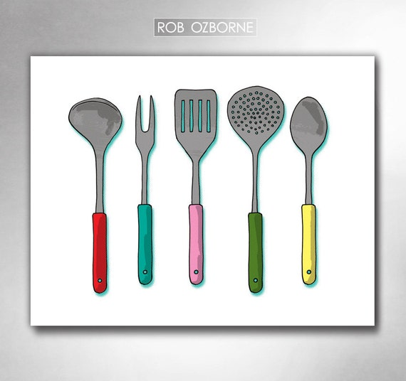 MODERN KITCHEN UTENSILS Mid Century Atomic Kitchen Art Print by Rob Ozborne
