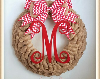 Summer Wreath-Monogram Wreath-Wreath for Door-Personalized Wreath-Red Burlap Wreath-Front Door Summer Wreath-Everyday Wreath-Initial Wreath