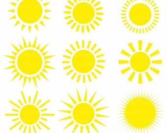 Sun Clipart, Vector Sun, Clipart Commercial Use, Sun Digital Image, Vector Graphics, DIGITAL CLIPART, Sun vector, Digital Clipart, SVG Files