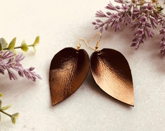 Bronze Leather Pedal Earrings
