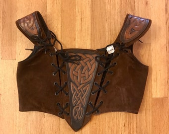 Brown Suede Tool Leather women's Medieval Renaissance Bodice. Laced bodice. Celtic SCA LARP Pirate Wench Costume Medium 34 36 38 Bust