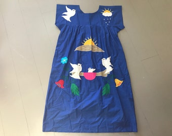 Mexican vintage embroidered dress, sunshine and birds, folk hippy boho, excellent condition
