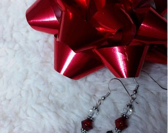 Red clear and silver cat earrings