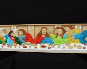 LARGE WALL ART ( 5.2 ft x 1 ft) The Last Supper  Wood Relief Carving 100% Hand Carved Wood Art