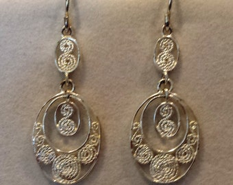 Vintage 925 Silver Earrings with unique spiral designs