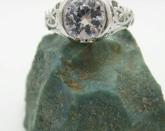 White Sapphire Sterling Silver Filigree Ring, size 7.25