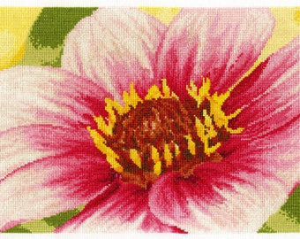 Pink Dahlia Cross stitch kit-BK 1340, Counted Cross Stitch, Cross stitch kit, flower cross stitch kit, dahlia cross stitch, dmc flowers