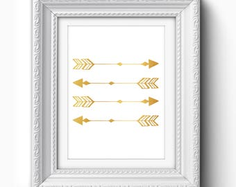 Gold Arrows Print, Modern Arrow Art, Arrow Printable, Arrow Wall Art, Minimalist Arrow Art, Gold Arrow Decor, Gold Arrow Printable Art