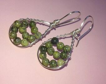 Green wirework earrings,artisan silver earrings,gemstone earrings,minimal earrings,olive stone earrings,everyday earrings by magyartist