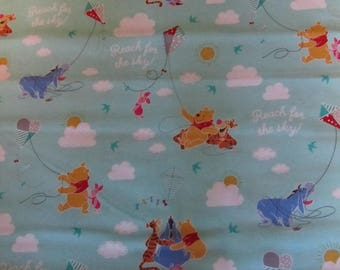 Blue Pooh and Friends Flying Kites Cotton Fabric By the Yard