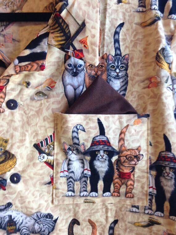 Men's Hawaiian Button-Down Cool Cat Print Shirt QKGmzVJ6w